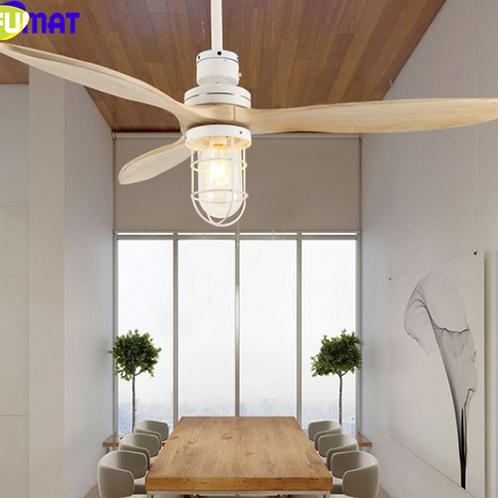 FUMAT E27 Loft Iron Wooden Glass Ceiling Fans Lamp Ceiling Lights LED Ceiling Li