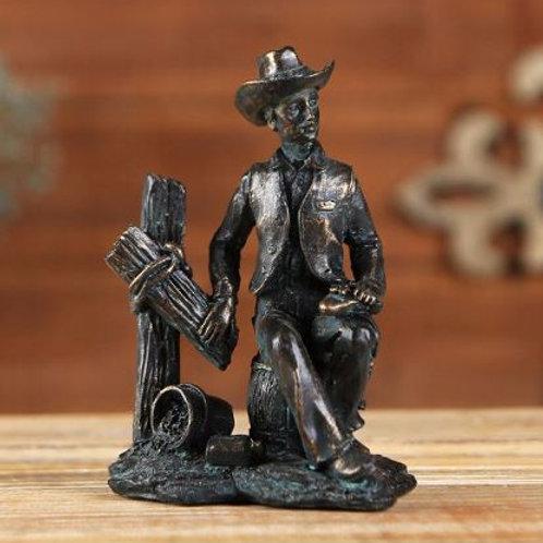 etro Vintage American Cowboy Figurine Statue Sculpture Home Decoration