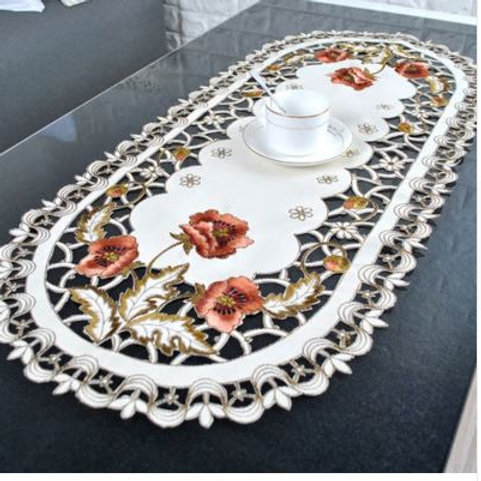 40*85cm Vintage Embroidered Rose Cutwork Tablecloths Oval Table Cover Table Clot