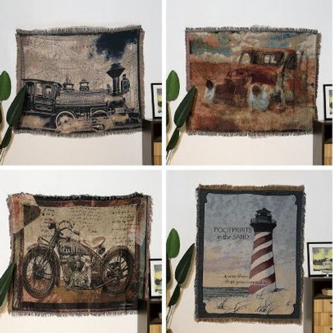 Dilapidated Car\Motorcycle\Train Cotton Vintage Carpet Thicken Throw Blanket Tie