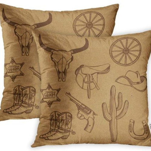 Pillow Covers Print Wild West Western Cowboy Hat Boots Gun Sheriff Star Horsesho
