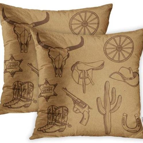 Pillow Covers Print Wild West Western Cowboy Hat Boots Gun Sheriff Star Horsesho