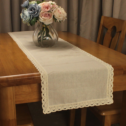 CURCYA Vintage Original Color Beige Cotton Linen Table Runners for Wedding Decor