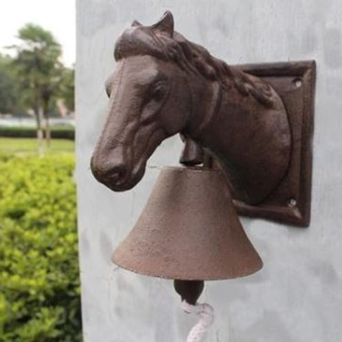 Cast Iron Ornate Horse Head Door Bell Doorbell Country Brown Cottage Farm Patio