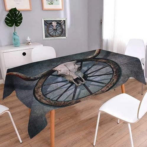 Barn Wood Wagon Wheel Dinning Tablecloth Wild West Themed Design with Bull Skull