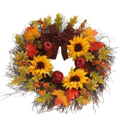 New Arrival 17.7inch Delicate Simulation Wreath Autumn Color Door Decorations wr