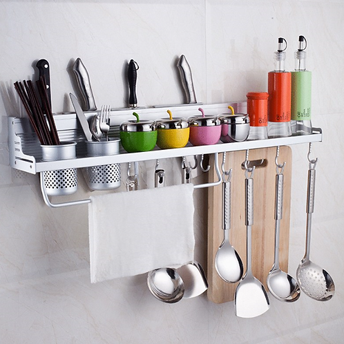 Wall Mounted Pot Pan Rack Multifunctional Kitchen Bookshelf Storage Rack with Bo