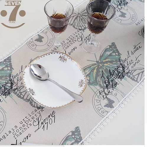 Home Decorative Vintage Butterfly Printed Embroidery Lace Border Coffee Table Ru
