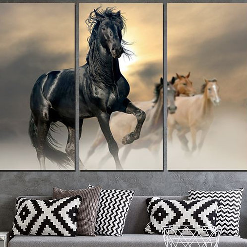 Canvas Wall Art Pictures Modern Home Decor 3 Pieces Black Horse Animal Paintings