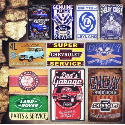 Dad's Garage Vintage Metal Tin Signs Leyland Decorative Plates Parts Service Wal