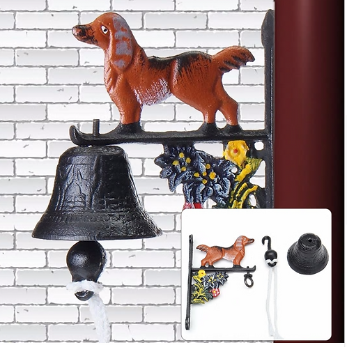 1 x Vintage Wall Mounted Rusted Dog Rust Cast Iron Door Home Bell Garden Decor N