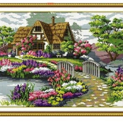 DIY Counted Cross Stitch Embroidery Set Countryside Cottage Home Decor