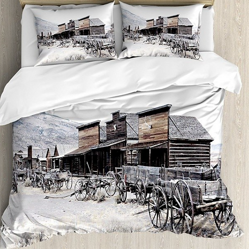 Duvet Cover Set Old Wooden Wagons in Ghost Town Antique Wyoming Wheels Artwork P