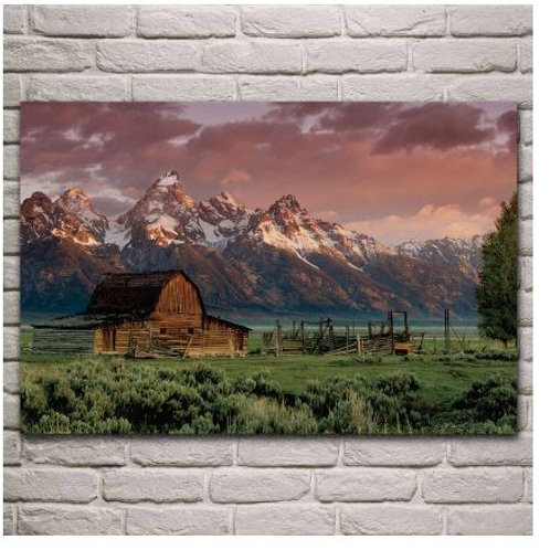 rocky mountains barn teton style cabin sunset landscape fabric poster living roo