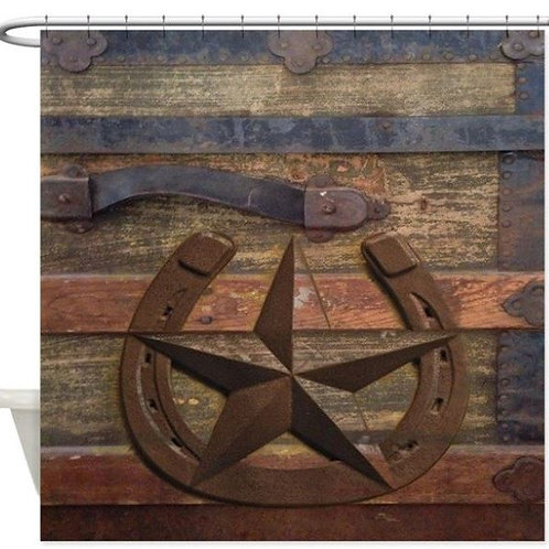 Western Horseshoe Texas Star Decorative Fabric Shower Curtain Bath Products Bath