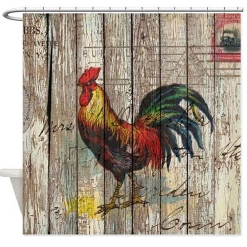 Rustic Farm Country Rooster Decorative Fabric Shower Curtain Set and Anti-slip F