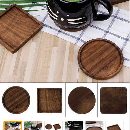 OOTDTY Vintage Durable Wooden Beverage Coasters Anti-slip Cup Mug Mat Table Plac