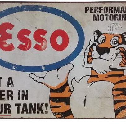 Neon Metal Sign Retro Esso Tiger Decor Tin Plaque ChicGasoline Plate American St