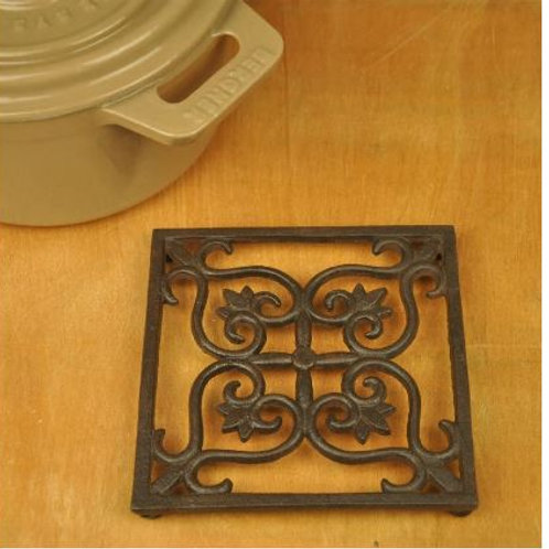 Vintage Cast Iron Trivet Square Flower Trivets Pot Bowl Plate Dish Tray Holder H