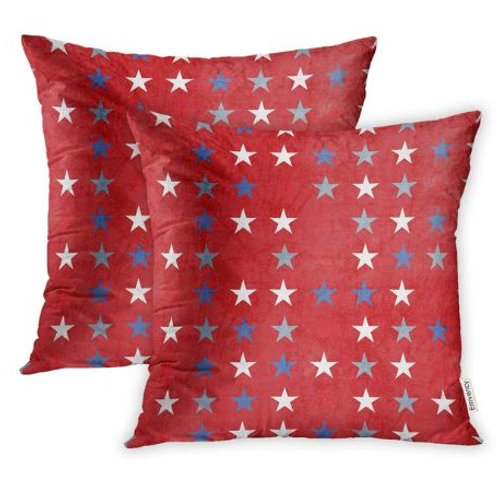 Pillow Covers Print Polyester Zippered Blue President Starry Patriotic Red Memor