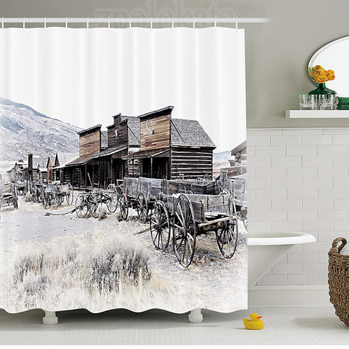 Western Decor Shower Curtain Old Wooden Wagons from 20's in Ghost Town Antique W