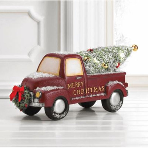 Light-Up Red Truck With Wreath