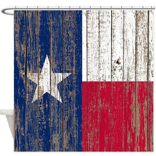 Barn Wood Texas Flag Decorative Fabric Shower Curtain