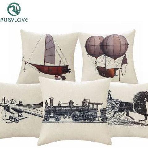Vintage Style Simple Sketch Sailboat Carriage Train Pillow Case Linen Cotton Cus