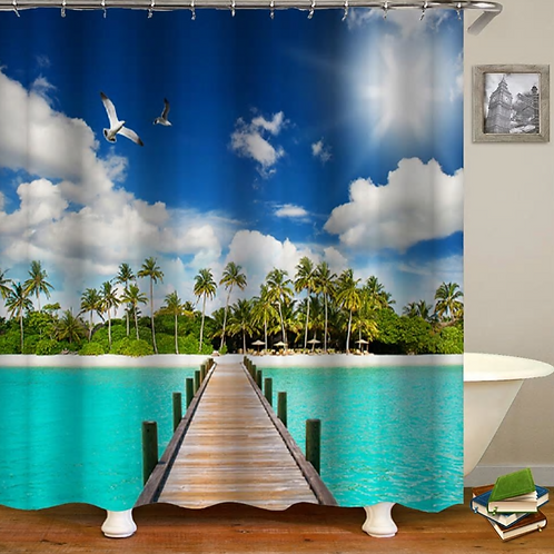 Bridge Shower Curtain Ocean Bathroom Decor Cloudy Sky BLue and Forest Wooden Bri