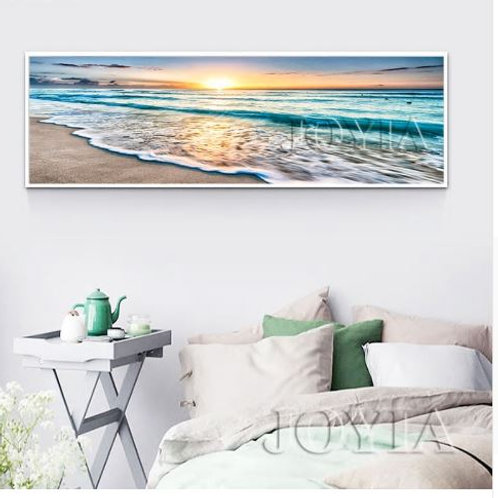 Large Rectangle Seascape Painting Picture Beach Waves Canvas Art Print Sunrise O