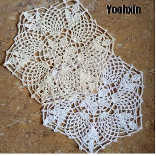 lace cotton tlable place mat crochet placemat glass pad Christmas drink coaster