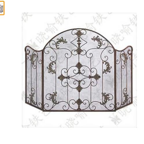 Wrought iron vertical mantel furnace circumference Fire screen Folding screen fi