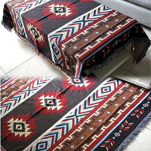 Multifunction Kilim Sofa Blanket Geometric Pattern Blanket Living Room Bedroom