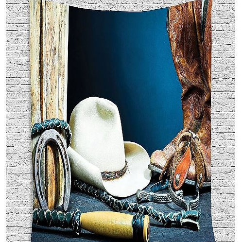 Western Decor Tapestry Equestrian Backdrop with Antique Horseshoe Hat Cowboy Tex