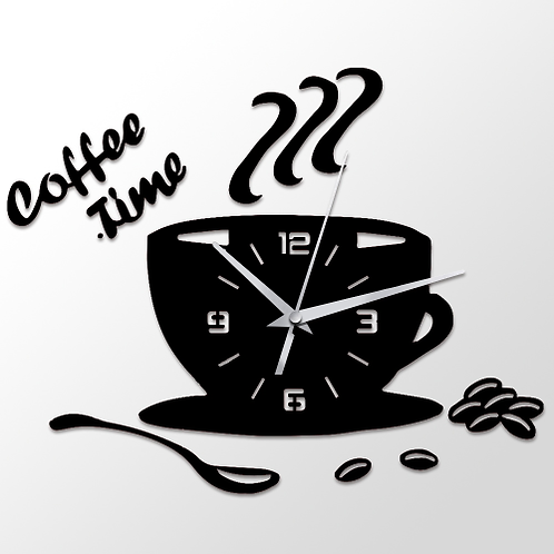 3D DIY Acrylic Wall Clock Modern Kitchen Home Decor Coffee Time Clock Cup Shape