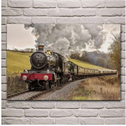 vintage train engine rails living room decoration home wall art decor wood frame