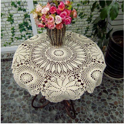 Handmade Crochet Tablecloth Round Tablecloths Vintage Weave Table Cover Hollow O