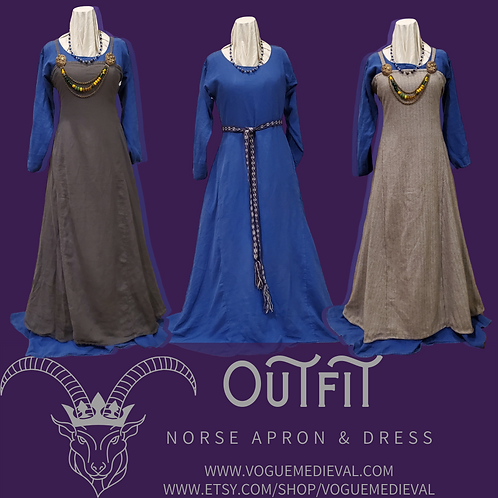 Outfit: Wool & Silk Norse Apron and Linen Underdress