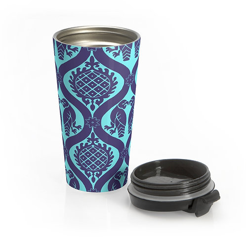 Peppermint Birds and Pineapples Stainless Steel Travel Mug