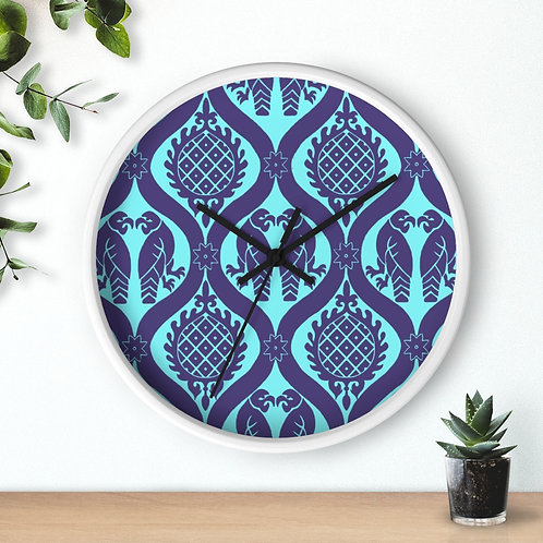 Peppermint Birds and Pineapples Wall clock