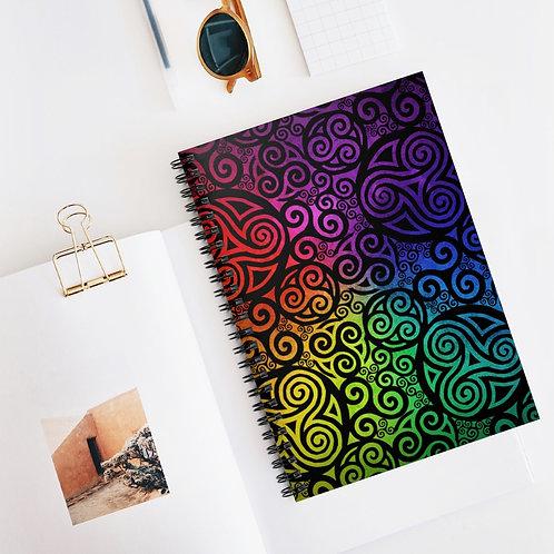 Celtic Rainbow Spiral Notebook - Ruled Line