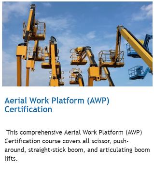Aerial Work Platform AWP online training alberta