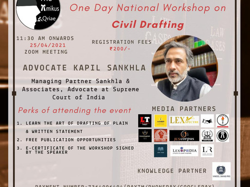 ONE DAY NATIONAL WORKSHOP ON CIVIL DRAFTING ON 25-04-2021