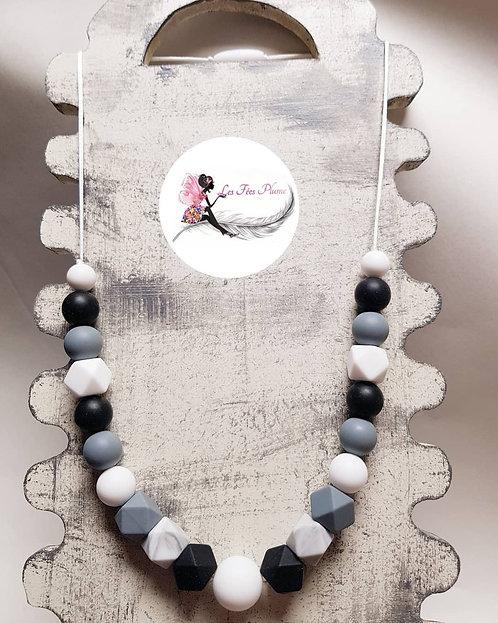 Collier d'allaitement/biberonnage/portage Noir/blanc/gris