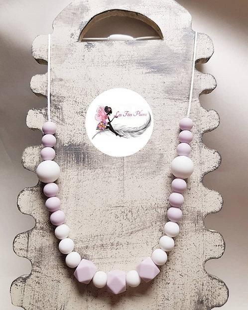 Collier d'allaitement/biberonnage/portage Parme & Blanc