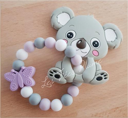 """Hochet de dentition Gris/Rose/Blanc """"Koala"""""""