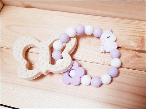"Hochet de dentition ""Licorne"" Violet/Blanc"