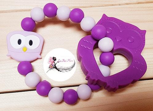 Hochet de dentition violet Hibou