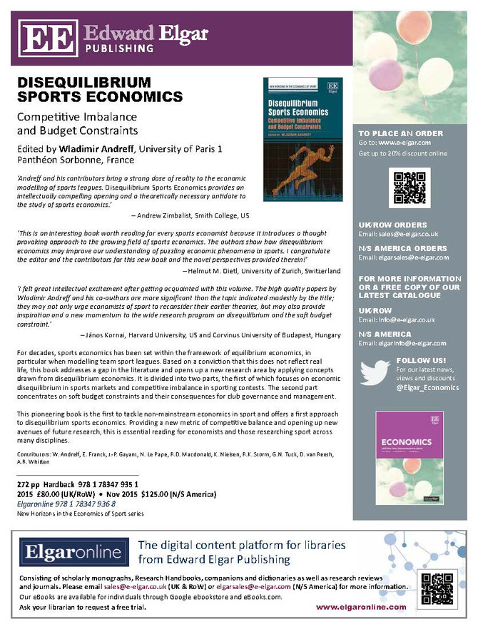 New book 'Disequilibrium Sports Economics' edited by W. Andreff