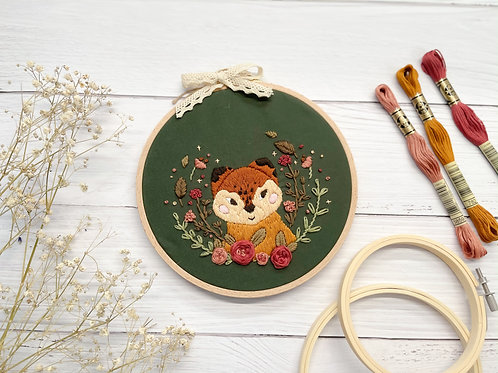 Fox Embroidery hoop art